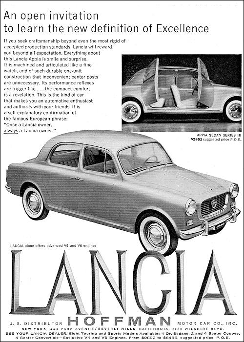 1959 Lancia Flaminia Classic Vintage Advertisement Fron